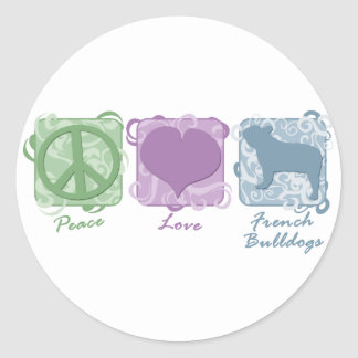 Pastel Peace, Love, and French Bulldogs Classic Round Sticker