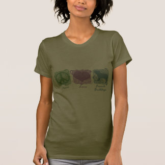 Pastel Peace, Love, and French Bulldogs Tee Shirt