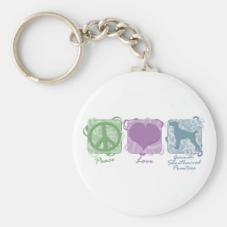 Pastel Peace, Love, and German Shorthaired Pointer Keychain