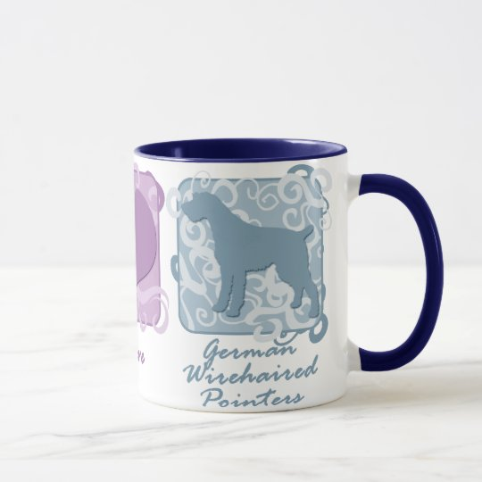 Pastel Peace, Love, and German Wirehaired Pointers Mug