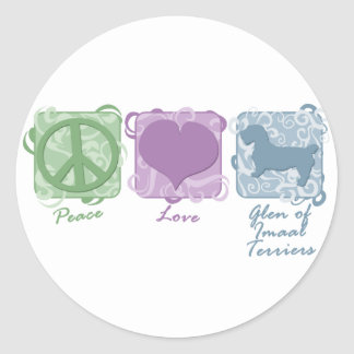 Pastel Peace, Love, and Glen of Imaal Terriers Classic Round Sticker