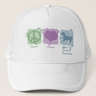 Pastel Peace, Love, and Glen of Imaal Terriers Trucker Hat