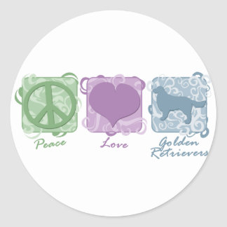 Pastel Peace, Love, and Golden Retrievers Classic Round Sticker