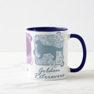 Pastel Peace, Love, and Golden Retrievers Mug