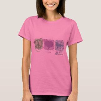 Pastel Peace, Love, and Golden Retrievers T-Shirt