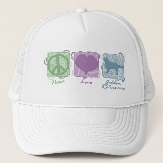 Pastel Peace, Love, and Golden Retrievers Trucker Hat