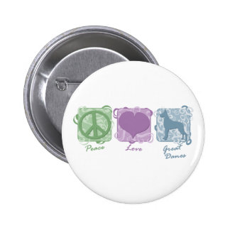 Pastel Peace, Love, and Great Danes 2 Inch Round Button
