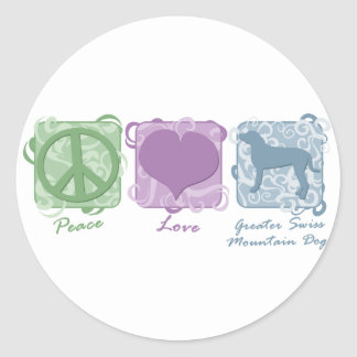 Pastel Peace, Love, and Greater Swiss Mountain Dog Round Stickers