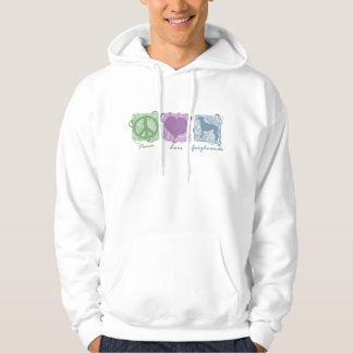 Pastel Peace, Love, and Greyhounds Hoodie