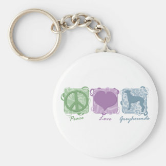 Pastel Peace, Love, and Greyhounds Key Chains