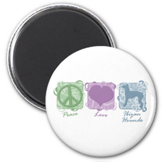 Pastel Peace, Love, and Ibizan Hounds 2 Inch Round Magnet