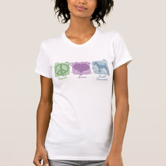 Pastel Peace, Love, and Irish Terriers T-shirts