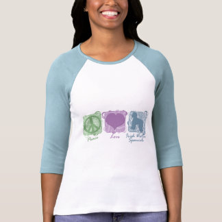 Pastel Peace, Love, and Irish Water Spaniels Tee Shirt