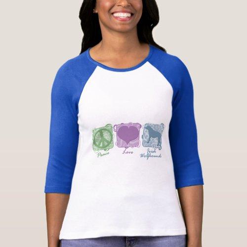 Pastel Peace Love and Irish Wolfhounds T_Shirt