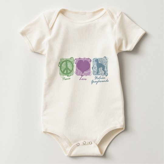 Pastel Peace, Love, and Italian Greyhounds Baby Bodysuit
