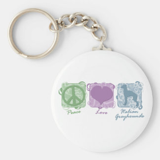 Pastel Peace, Love, and Italian Greyhounds Keychain