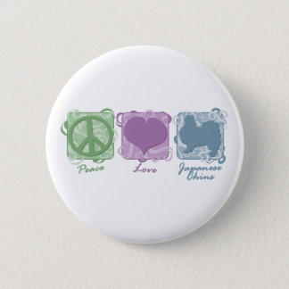 Pastel Peace, Love, and Japanese Chins Button