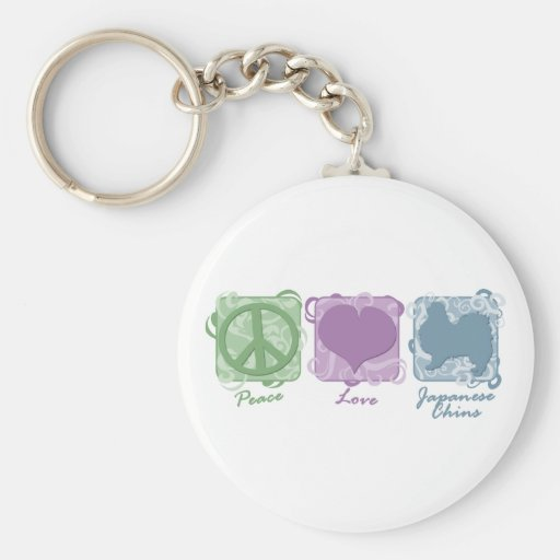 Pastel Peace, Love, and Japanese Chins Basic Round Button Keychain