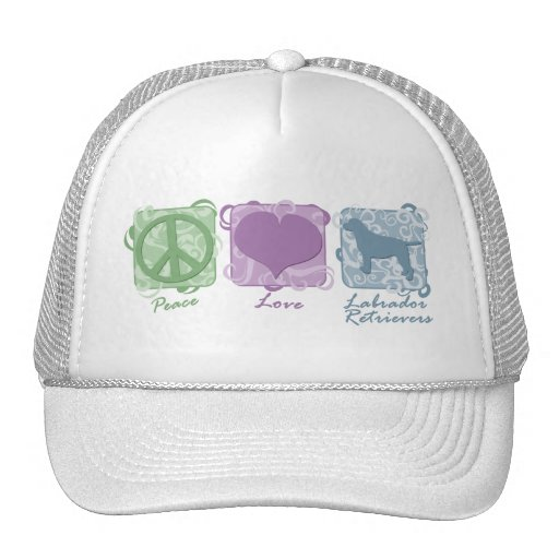 Pastel Peace, Love, and Labrador Retrievers Hats