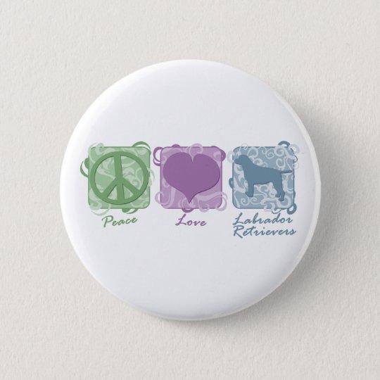 Pastel Peace, Love, and Labrador Retrievers Pinback Button