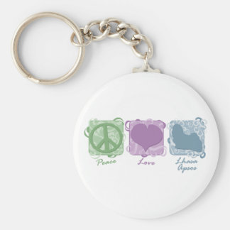 Pastel Peace, Love, and Lhasa Apsos Keychain