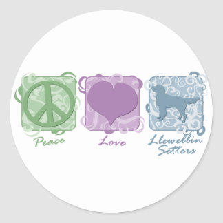 Pastel Peace, Love, and Llewellin Setters Classic Round Sticker