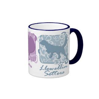 Pastel Peace, Love, and Llewellin Setters Ringer Mug