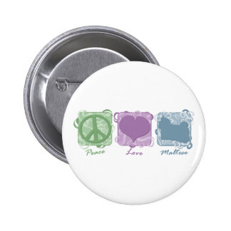 Pastel Peace, Love, and Maltese 2 Inch Round Button