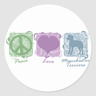 Pastel Peace, Love, and Manchester Terriers Classic Round Sticker