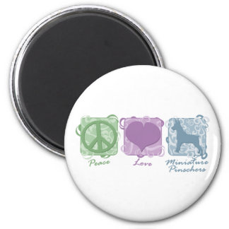 Pastel Peace, Love, and Miniature Pinschers 2 Inch Round Magnet