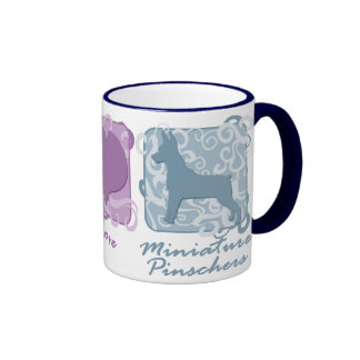Pastel Peace, Love, and Miniature Pinschers Ringer Coffee Mug