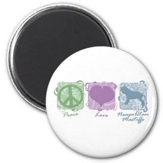 Pastel Peace, Love, and Neapolitan Mastiffs Refrigerator Magnet