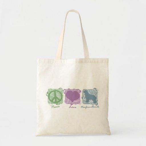 Pastel Peace, Love, and Newfoundlands Bags