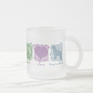 Pastel Peace, Love, and Newfoundlands Frosted Glass Coffee Mug