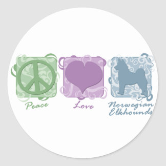 Pastel Peace, Love, and Norwegian Elkhounds Classic Round Sticker