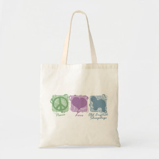 Pastel Peace, Love, and Old English Sheepdogs Tote Bag