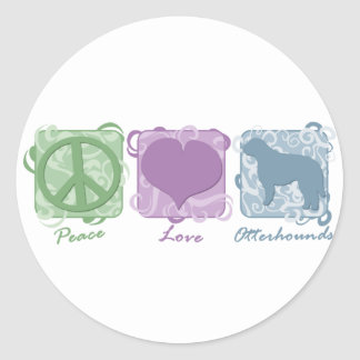 Pastel Peace Love and Otterhounds Stickers
