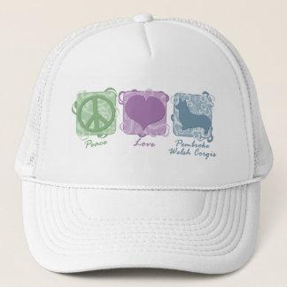 Pastel Peace, Love, and Pembroke Welsh Corgis Trucker Hat
