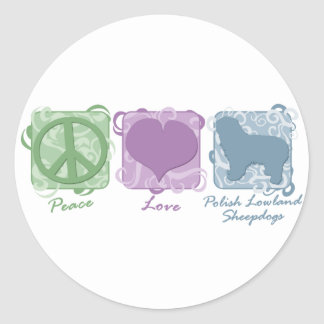 Pastel Peace, Love, and Polish Lowland Sheepdogs Classic Round Sticker
