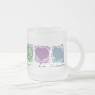 Pastel Peace, Love, and Pomeranians Frosted Glass Coffee Mug