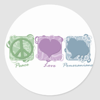 Pastel Peace, Love, and Pomeranians Stickers