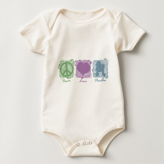 Pastel Peace, Love, and Poodles Baby Bodysuit