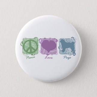 Pastel Peace, Love, and Pugs Button