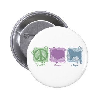 Pastel Peace, Love, and Pugs 2 Inch Round Button