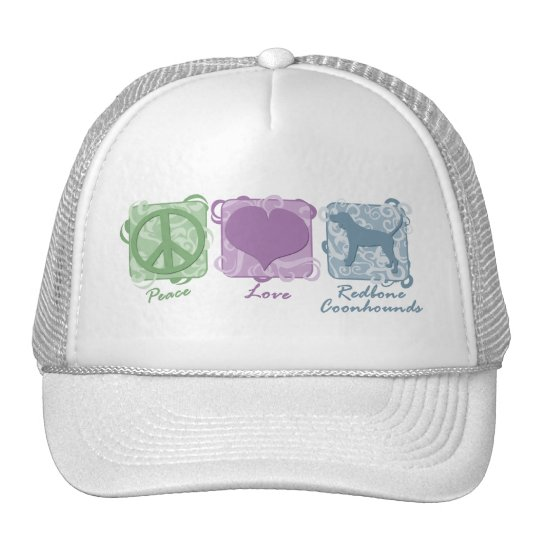 Pastel Peace, Love, and Redbone Coonhounds Trucker Hat