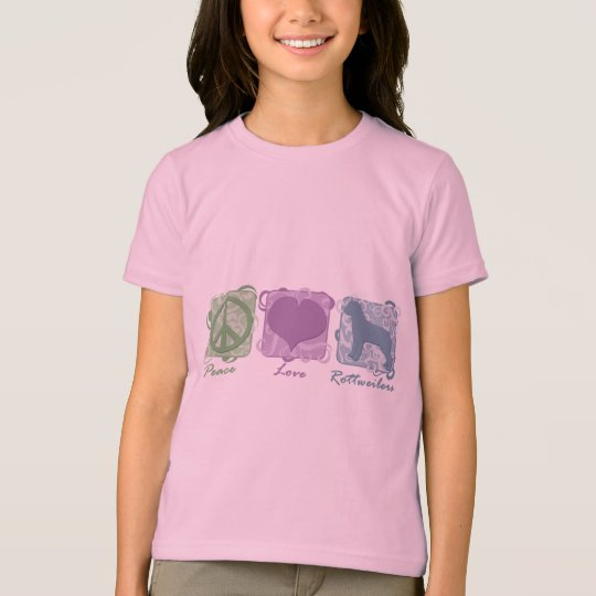 Pastel Peace, Love, and Rottweilers Child's T-Shirt