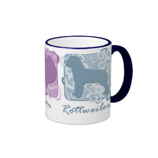 Pastel Peace, Love, and Rottweilers Ringer Mug