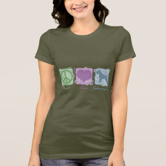 Pastel Peace, Love, and Schnauzers T-Shirt