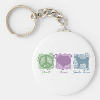 Pastel Peace, Love, and Shiba Inus Basic Round Button Keychain