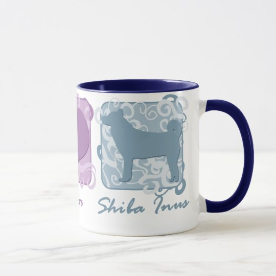 Pastel Peace, Love, and Shiba Inus Mug